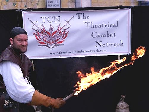 Theatrical Combat Network Member Ken with a Flaming Sword